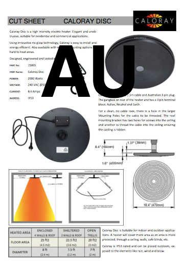 Caloray Heater Product Cut Sheet Australia